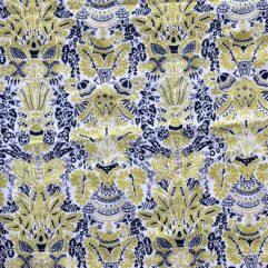 bomullstyg mönstrat blå gult tamme craft